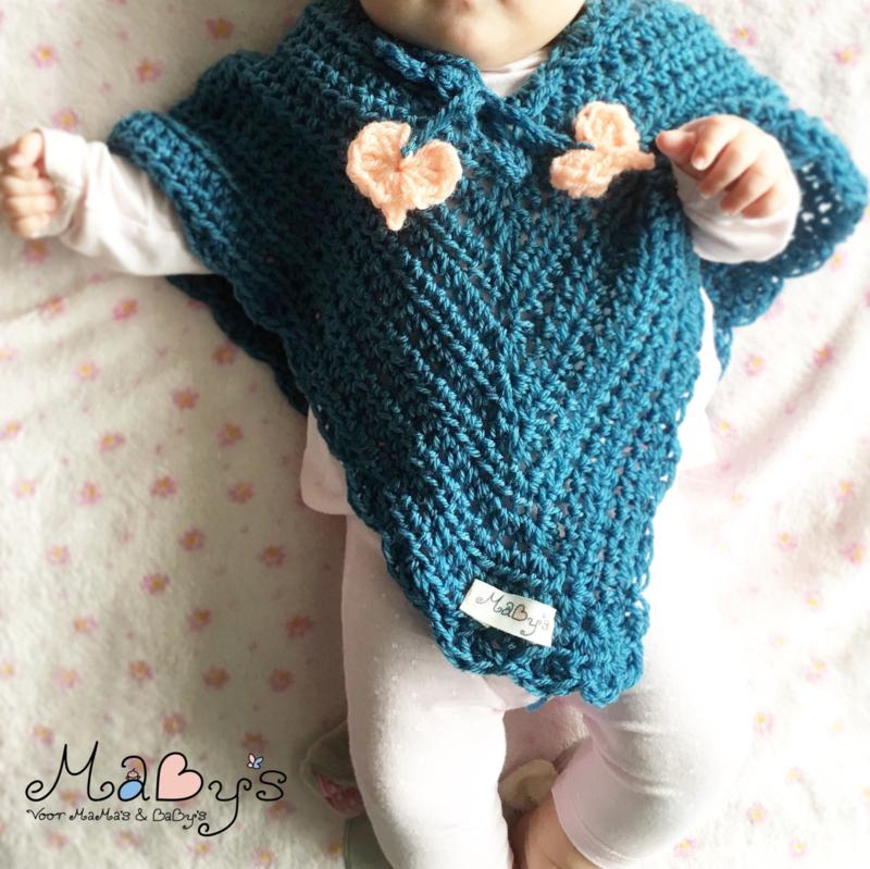 Baby poncho met hartjes en bijpassende muts - Donkerblauw & zalmoranje