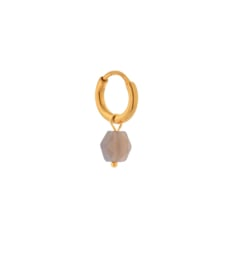 Label Kiki - Single grey agate hoop gold