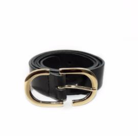 Zwart met gouden dubbele gesp 3cm