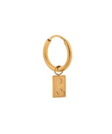 Label Kiki - Single double round rectangle hoop goud