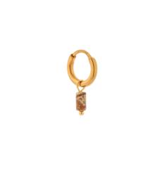 Label Kiki - Single small brown agate tube hoop goud