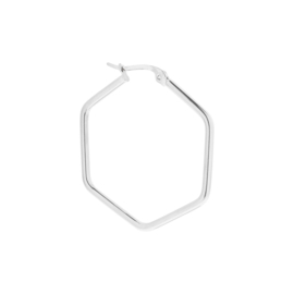 Label Kiki - Single large hexagon hoop silver