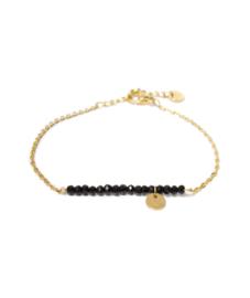 Label Kiki - Black Stone Bracelet goud