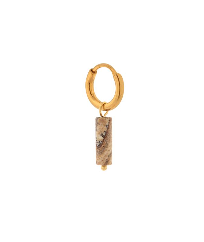 Label Kiki - Single large brown agate tube hoop goud
