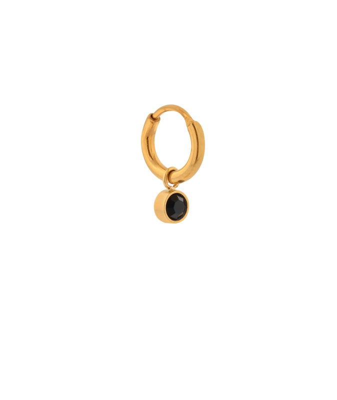 Label Kiki - Single black stone hoop goud