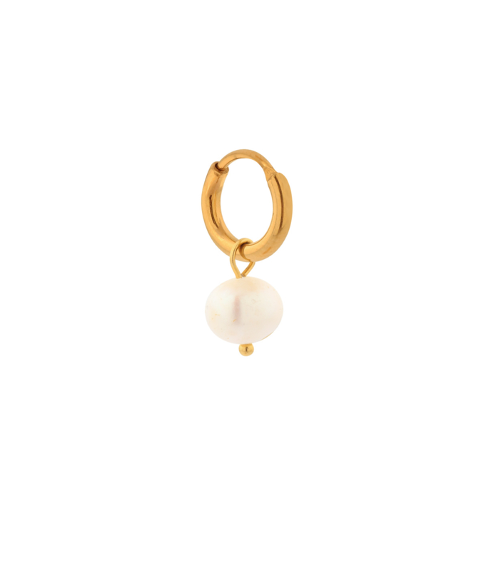 Label Kiki - Single large pearl dot hoop goud