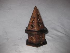 Wierookhouder voor Kegeltjes, Piramide met een kantelbaar opbergruimte