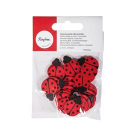 Houten Lieveheersbeestjes | 2,5 cm | 24 st
