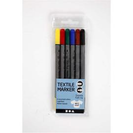 Textielstiften met dubbele punt 6 kleuren
