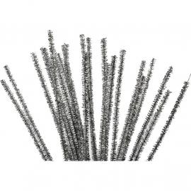 Chenille draad Zilver - lengte 30 cm - dikte 6 mm