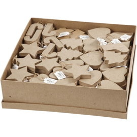 Kerstvormen van Papier-Mache | 7-8 cm | 174 st