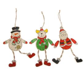 Kersthangers - Sneeuwpop | Kerstman | Rendier - hoogte 20 cm