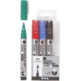 Glas- en Porseleinstiften | 1-2 mm | dekkend | Groen, rood, blauw en zwart