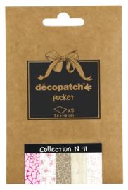 Decopatch Pocket nr 11| 5 vellen decoupage papier van 30 x 40 cm