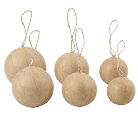 6 Kerstballen van Papier-Mache - 4+5+6 cm