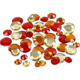 Facet Strass Stenen | rood-oranje | 360 st