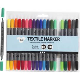 Textielstiften met dubbele punt 20 kleuren