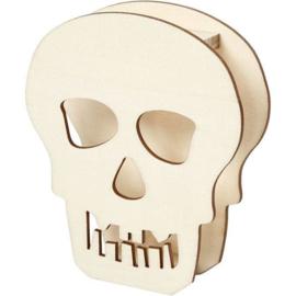 Houten Doodshoofd - 13,5 cm - kan zelfstandig staan