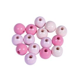 Houten Kralen | roze | 8 mm | gatgrootte 1,5 mm | 80 st