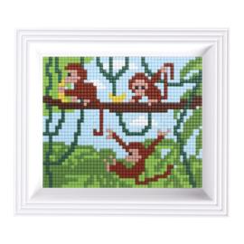 Pixelhobby Geschenkset incl. Lijst - Aapjes