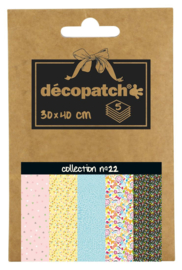 Decopatch Pocket nr 22 | 5 vellen decoupage papier van 30 x 40 cm