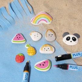 Knutselidee : Stenen versieren met Plus Color Markers