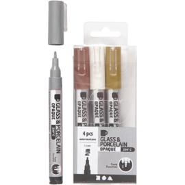 Glas- en Porseleinstiften | 1-2 mm | dekkend | Goud, zilver, wit en bruin