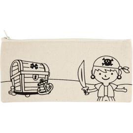 Etui Piraat om zelf te kleuren - 21 x 9 cm
