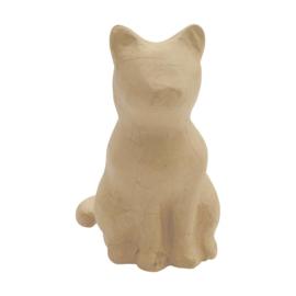 Zittende Kat van papier-mache - 15 x 18 cm