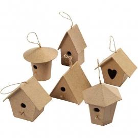 6 Mini Vogelhuisjes van papier-mache | 7 cm