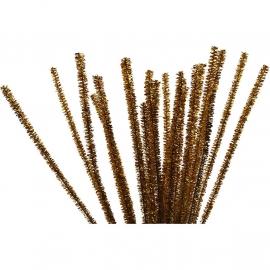 Chenille draad Goud - lengte 30 cm - dikte 6 mm