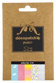 Decopatch Pocket nr 19 | 5 vellen decoupage papier van 30 x 40 cm | Thema Eenhoorn