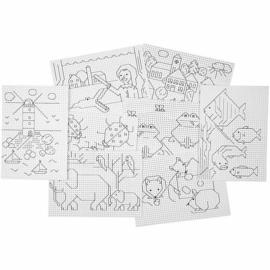 Kruissteken karton met motieven - 8 x 5 vellen