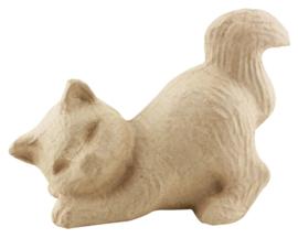 Liggende Kat van papier-mache | 19 cm