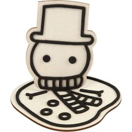 Houten Gesmolten Sneeuwpop met EVA Foam details - 11,5 cm