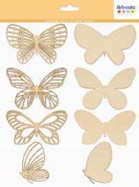 Houten Vlinders - 10 cm
