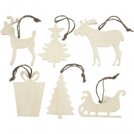 6 Kerst Ornamenten Hout - 7-9 cm