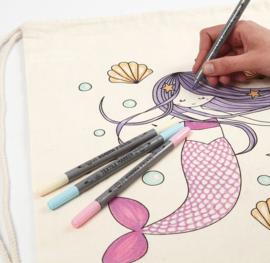 Katoenen Rugzak / Gymtas Zeemeermin - in te kleuren met textielstiften - 37 x 41 cm