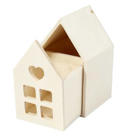 Houten Huisje met lade | 10 cm hoog