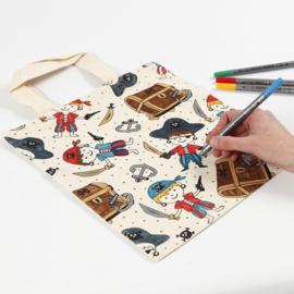 Katoenen Tas Piraat - in te kleuren met textielstiften - 27 x 30 cm