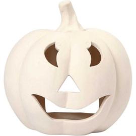 Halloween Pompoen Kandelaar - 15 cm - wit terracotta