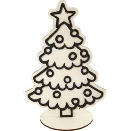 Houten Kerstboom met EVA Foam details - 19,5 cm