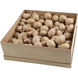 Eieren van papier-mache met ophanglust - 3-4-5-6 cm -140 st