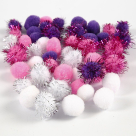Kleine PomPoms - wit/roze/paars - 15/20 mm - 48 st