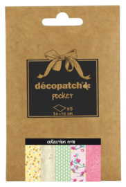 Decopatch Pocket nr 18 | 5 vellen decoupage papier van 30 x 40 cm