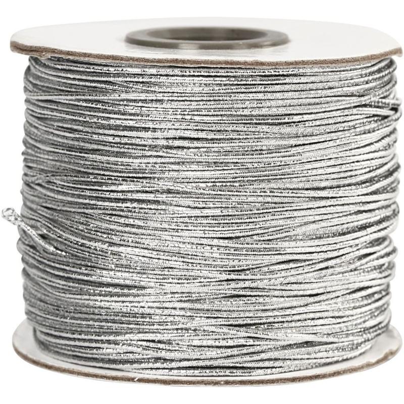 Elastisch Koord Zilver   dikte 1 mm   100 meter