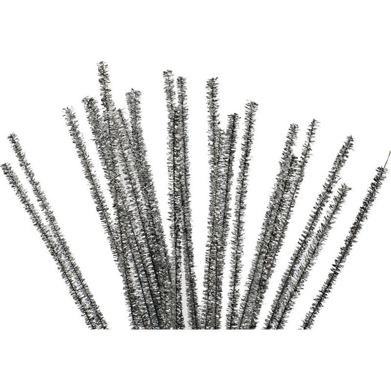 Chenilledraad Zilver - lengte 30 cm - dikte 6 mm