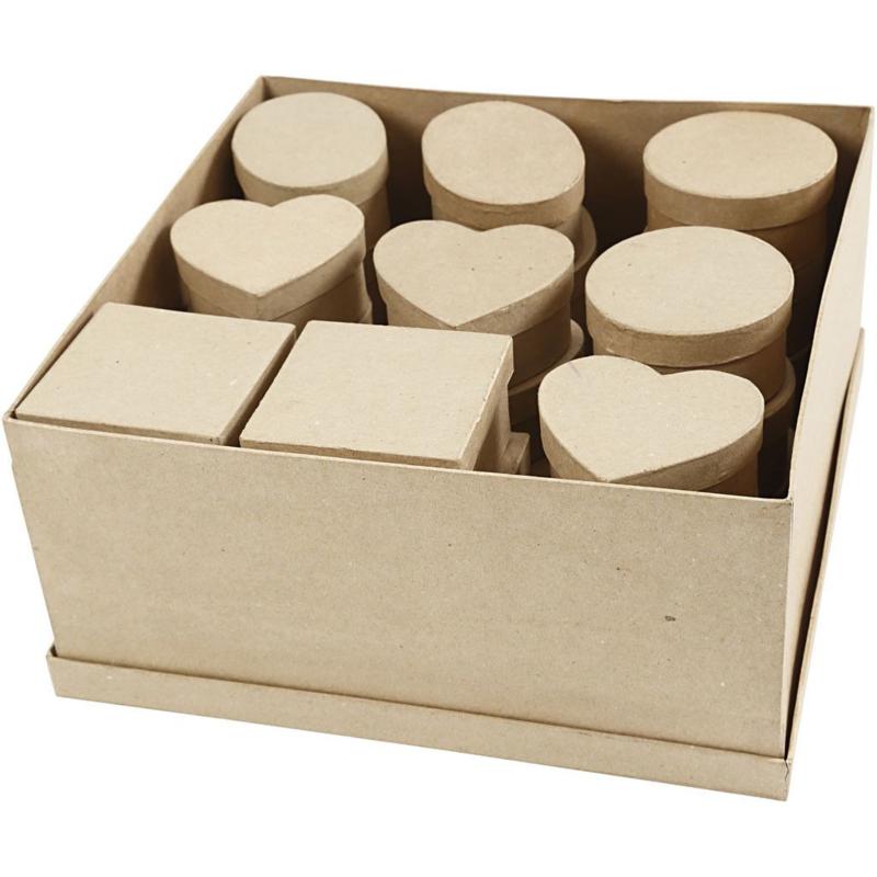 Papier-Mache Doosjes - diverse vormen - 28 st