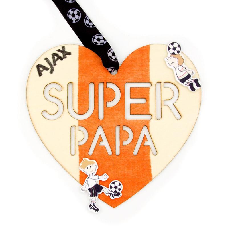 Vaderdag Cadeau Houten Hart Super Papa Vaderdag Cadeau