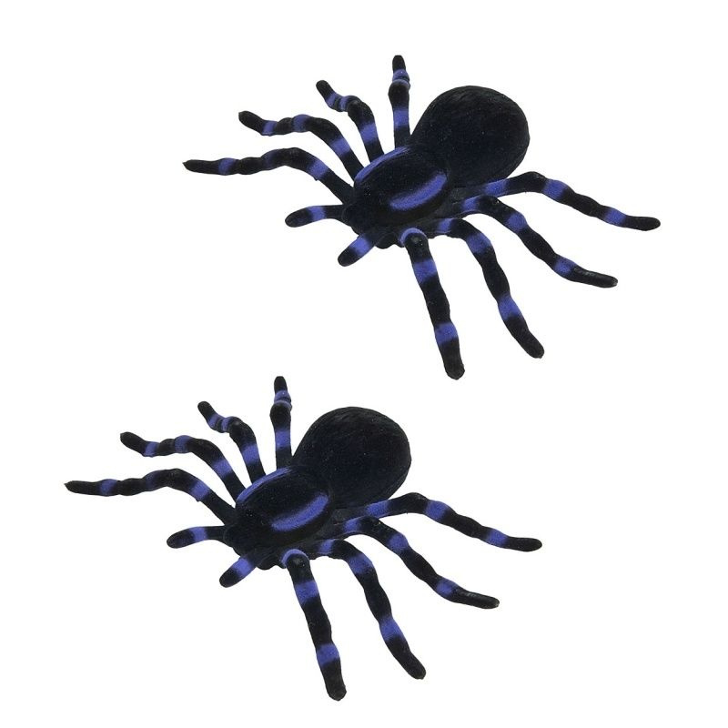 Decoratie Spinnen - 14 cm - 2 st